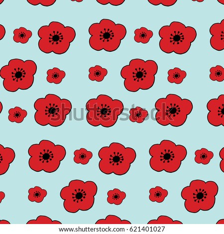 Poppy Flower PatternHand Drawn ElementsPerfect Design For Posters Cards Textile