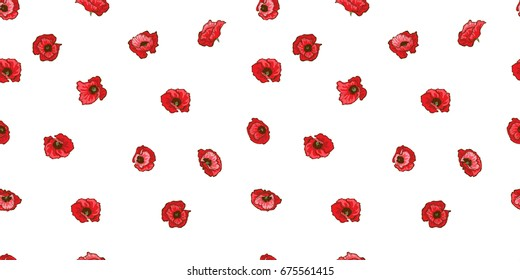 Poppy flower seamless pattern. Botanical vector illustration