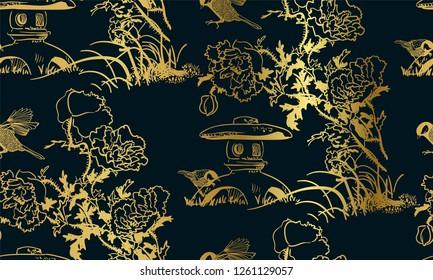 poppy flower toro bird nature landscape view vector sketch illustration japanese chinese oriental line art ink seamless pattern