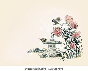 poppy flower toro bird nature landscape view vector sketch illustration japanese chinese oriental line art ink card background