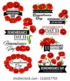 Poppy flower wreath for Remembrance Day design. British legion red poppy flower icon with memorial black ribbon for World War soldier and veteran Memory Day template