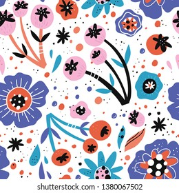 Poppy flowers flat hand drawn vector seamless pattern. Naive inflorescences, leaves, berries. Decorative blossom, blooming vintage backdrop. Wrapping paper, textile, background retro color design