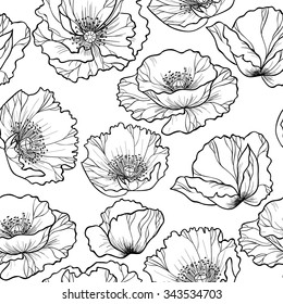 Poppy flowers  on a white background vector seamless pattern