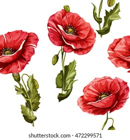 Poppy flowers. Seamless background pattern of poppy flowers. Vector - stock.