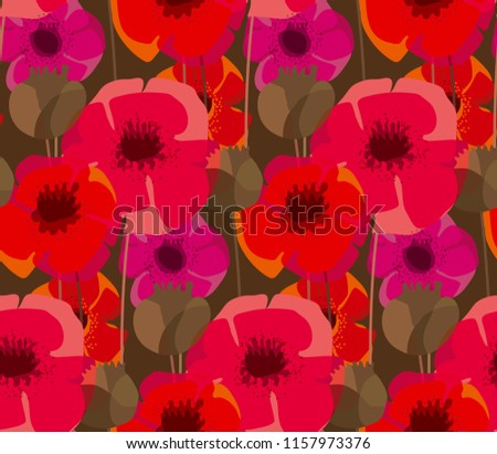 Poppy Flowers Seed Boxes Seamless Pattern Stock Vector Royalty Free