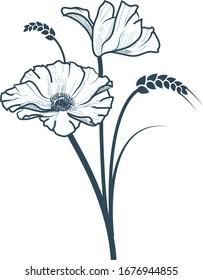 Poppy hand drawn floral art