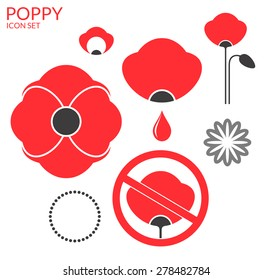 Poppy. Icon set. Red flowers on white background.