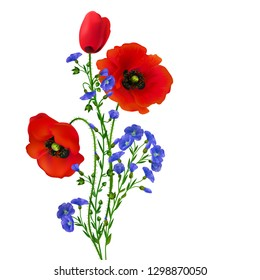 Poppy. Linen. Bouquet of flax and poppy flowers. Beautiful bright realistic flowers of red color on a white background. Vector illustration.