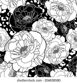 Poppy pattern seamless vector background