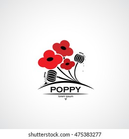 Poppy symbol with flowers and seed pods - vector illustration