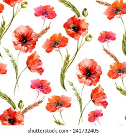 poppy, watercolor, background, flowers