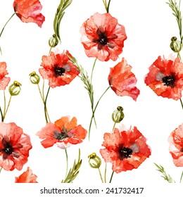 poppy, watercolor, wallpaper