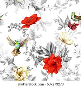 Poppy, wild flower, nightingale bird with leaves on black and white background. Seamless pattern. Watercolor, hand drawn, vector - stock