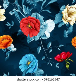 Poppy, wild rose and cornflowers with leaves on dark blue. Seamless background pattern. Watercolor, hand drawn. Vector stock