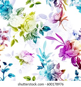 Poppy, wild rose, cornflowers, lily of the valley with leaves on pastel violet white. Seamless background pattern. Watercolor, hand drawn. Vector stock