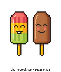 Popsicle and chocolate ice cream isolated on white background. Pixel art. Logo. Vector illustration.