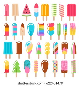 Popsicle ice cream icons set - flat style. Colorful swets vector illustration.