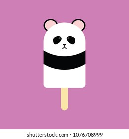 Popsicle in the shape of a Panda on purple