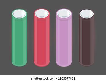 Popular 18650 accumulator form factor flat vector. Chocolate, red, green and purple colors of vape accumulators.