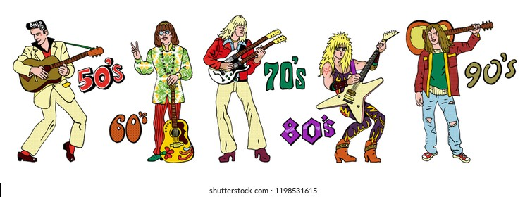 Popular 20th century rock music styles : 50s rock'n'roll, 60s hippie, 70s progressive rock, 80s glam metal, 90s grunge. Hand drawn sketchy illustration. Rock stars, guitarists.
