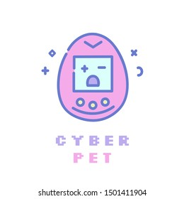 popular 90s electronic game flat line icon. Fashion gadget.Pastel goth pink girly clip art.Can be used for print as sticker ,creative card, mobile wallpaper,case,t-shirt,bag or poster
