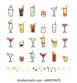 Popular alcoholic cocktails and cocktail decorations, icons set in flat style on white background