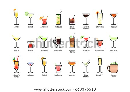 Popular alcoholic cocktails with