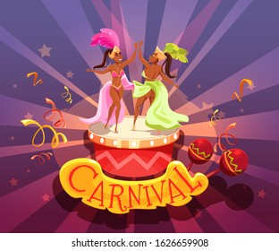 Popular brazil carnival event advertising flat poster. Cartoon people in festive clothes dancing playing musical instrument. Stage in shape of drums. Maracas decorated lettering. Vector illustration - Shutterstock ID 1626659908