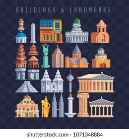 Popular buildings pixel art set world sights isolated vector illustration. Banner for the tourist tour famous monuments. Vacation time, trip. Tourist attraction landmark.  Design for stickers and logo