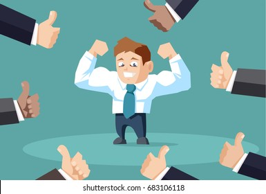 Popular businessman flexing his muscles with many people showing thumbs up