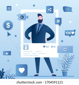 Popular celebrity account. Social media page and icons. Handsome man create video content. Online technology, video blogging. Monetization, Internet marketing and advertising. Vector illustration - Shutterstock ID 1704591121