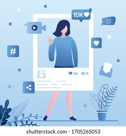 Popular celebrity account. Social media page, beauty woman create media content. Online technology, global chatting and messaging application. Internet marketing and advertising. Vector illustration - Shutterstock ID 1705265053