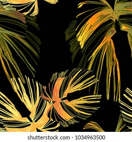 Popular color transition butterfly botanical textile pattern.  Nifty gentle 3D effect flover tropical herbarium. Bright herb glitch effect. Bloom print for sport pants on dark background.