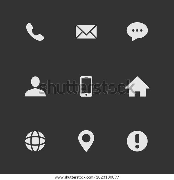 Beliebte Web Icons Für Visitenkarten Stockvektorset Weiß Auf