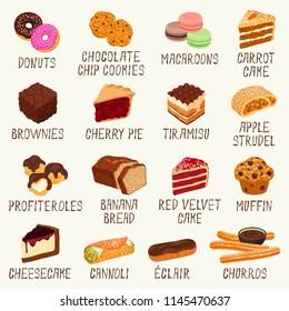 Popular desserts vector set