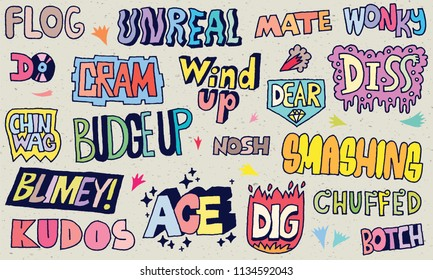Popular English Language Slang Words Doodle Lettering Set 1 Color With Texture