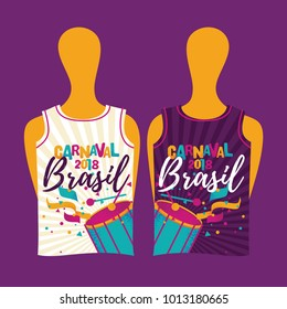 Popular Event Brazil Carnival Shirt With Colorful Party Elements. Travel destination in South America During Summer.