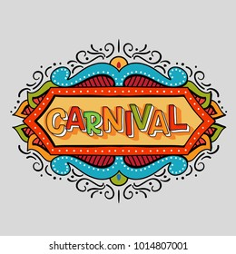 Popular Event Brazil Carnival Title With Colorful frame. Travel destination in South America During Summer. Vector logo for Carnival, poster for dance carnival show.
