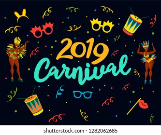 Popular Event in Brazil. Festive Mood. Carnaval Title With Colorful Party Elements. Travel destination. Brazilian Rythm, Dance and Music. Logo print. Carnival background