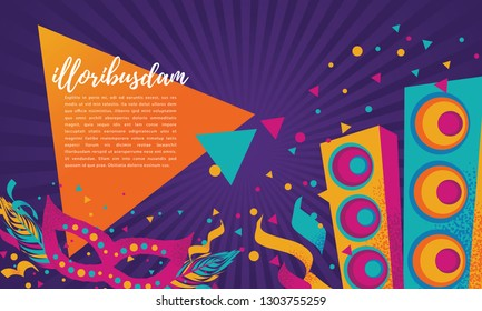 Popular Event in Brazil. Festive Mood. Carnaval Title With Colorful Party Elements With Lorem Ipsum Text. Travel destination. Brazilian Rythm, Dance and Music.