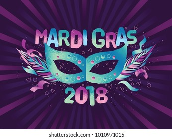 Popular Event Mardi Gras. Title With Colorful Party Elements. Travel destination in North America in February.