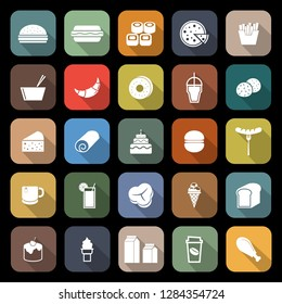 Popular food flat icons with long shadow, stock vector