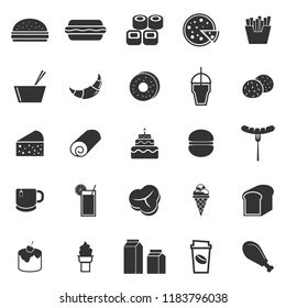Popular food icons on white background, stock vector