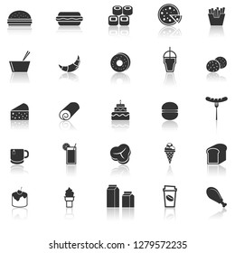 Popular food icons with reflect on white background, stock vector