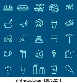 Popular food line color icons on blue background, stock vector