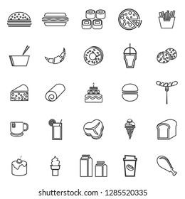 Popular food line icons on white background, stock vector