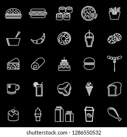 Popular food line icons on black background, stock vector
