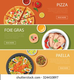 popular food web banner flat design, pizza, foie gras, paella