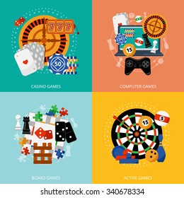 Popular gambling games of fortune entertainment casino poster with 4 flat icons composition abstract isolated vector illustration