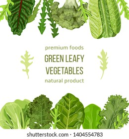Popular Green leafy vegetables card template. Vegetable frame top and bottom. text, copt space. Spinach, Dandelion, broccoli, Romaine Lettuce, kale, Collard. for cooking, bakery labels textile cards